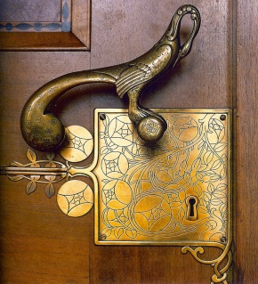 Door handle by Franz von Stuck on the entrance to the Council Room at the Bremen City Hall, Germany.